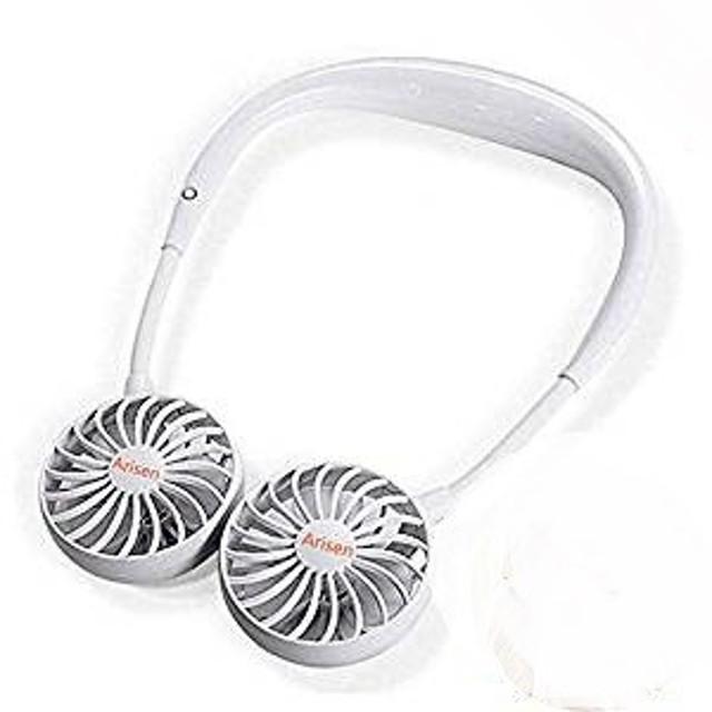 首かけ 卓上扇風機 ハンズフリー ポータブル USB扇風機 超  静音 省エネ 充電式(PSE認証)携帯扇風機  (ホワイト) MYR