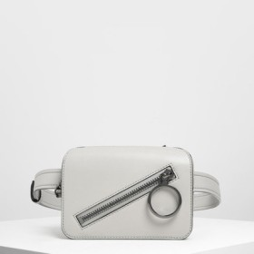 【2019 FALL 新作】リングディテール 2wayベルトバッグ / Ring Detail Two-Way Belt Bag(Grey)