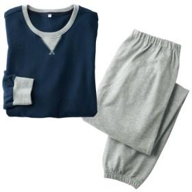 【レディース】 綿100%裏毛スウェットパジャマ(男女兼用) - セシール ■カラー:ネイビー ■サイズ:5L,3L,LL,S,L,M