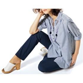 【レディース】 チュニックシャツ(ネックレス付き) - セシール ■カラー:ネイビー ■サイズ:L,M