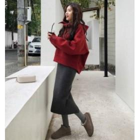 オルチャン 韓國 ファッション セットアップ レディース パーカー オーバーサイズ ビックシルエット スカート ロング ミモレ丈