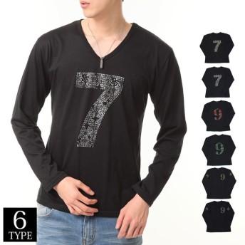 TopIsm ラインストーン ナンバリング ロング Tシャツ メンズ