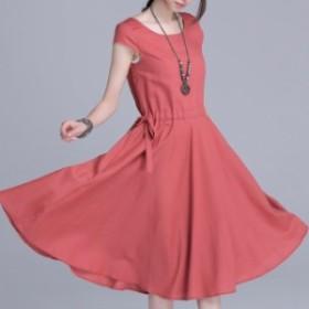 リネン ワンピース ミドル丈 コットン フレアスカート 半袖 體型カバー リラックス 大人 大きいサイズ 小さいサイズ 夏