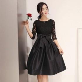 韓國 パーティドレス リボン 七分袖 長袖 ミニドレス 袖あり 結婚式 お呼ばれ ドレス 大きいサイズ ドレス リトルブラックド