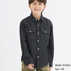 (GU)KIDS(男女兼用)デニムシャツ(長袖) BLUE 130