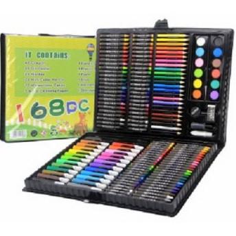 お絵かきセット 子供用 色鉛筆 168ピース 絵の具セット 水性色鉛筆 クラパス カラーサインペン 無毒 安全材料 油性色鉛筆