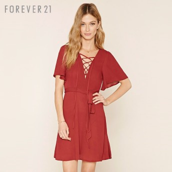 FOREVER21 フォーエバー21 【レースアップワンピース】(5,000円以上購入で送料無料)