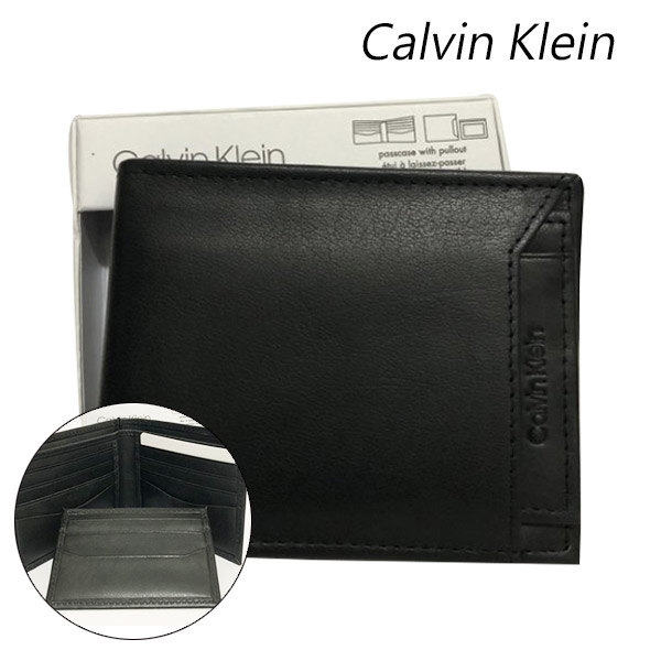 Calvin Klein CK 素面皮革短夾/男夾/皮夾(黑)