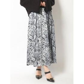 リゼクシー RESEXXY タックパイソンプリントスカート (ブラック)