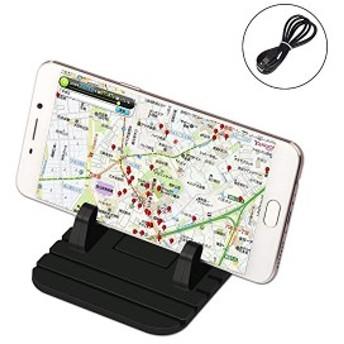 シリコン 車載ホルダー 携帯車載GPSホルダー iPhone&Android スタンド ダッシュボード対応 充電ケーブル付き スマホスタンド 滑 ...