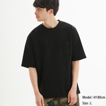 (GU)ポンチクルーネックT(5分袖) BLACK M