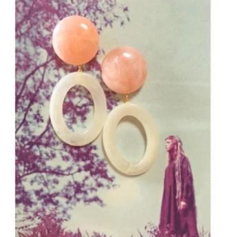 ボリュームピアス ピンクホワイトO型