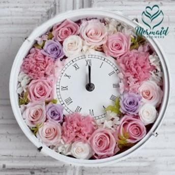 プリザーブドギフト 咲き続ける魔法のお花 時計プリザ 『ハッピーデイズ』 花 ギフト 花時計 ブリザーブドフラワー 時計 プリザ 結婚
