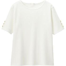 (GU)GIRLSリブボタンスリーブT(半袖) OFF WHITE 110