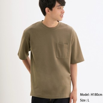 (GU)ポンチクルーネックT(5分袖) BEIGE XL