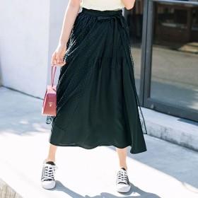 GeeRA ドットチュールラップスカートセット ブラック L レディース 5,000円(税抜)以上購入で送料無料 ロングスカート 夏 レディースファッション アパレル 通販 大きいサイズ コーデ 安い おしゃれ お洒落 20代 30代 40代 50代 女性 スカート