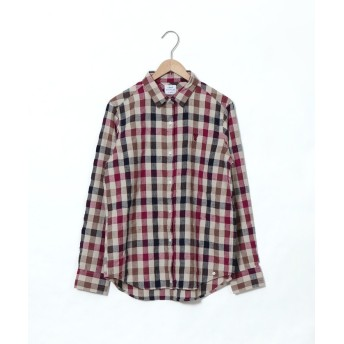 【50%OFF】 コーエン ウィンターリネンチェックシャツ レディース WINE SMALL 【coen】 【セール開催中】