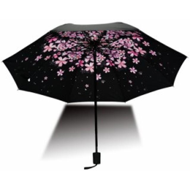 レディース日傘 晴雨兼用 完全遮光 UVカット 遮光率100% 紫外線遮断率100% コンパクト 4段折りたたみ 花柄 黒