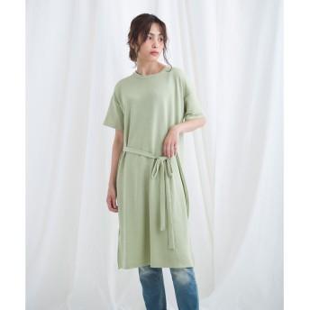 ジュエローブ Jewelobe ウエストリボンロングTシャツ (グリーン)