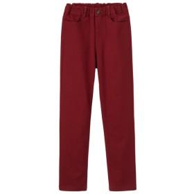 (GU)KIDS(男女兼用)ストレッチカラーストレートパンツ RED 130