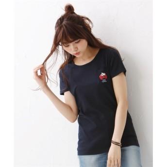 キティちゃんとクレヨンしんちゃん ポケット付プリントTシャツ (大きいサイズレディース)Tシャツ・カットソー