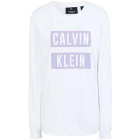 《期間限定セール開催中!》CALVIN KLEIN PERFORMANCE レディース スウェットシャツ ホワイト XS コットン 100% LOGO PULLOVER