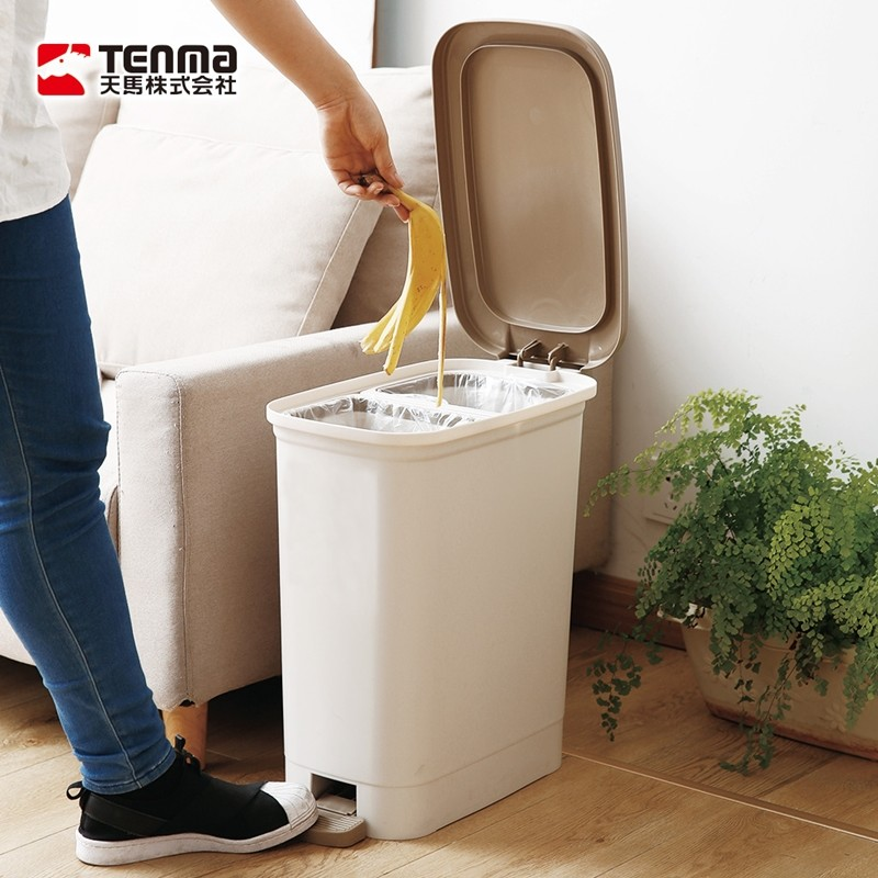 日本天馬dustio分類腳踏抗菌垃圾桶(深型)-20l