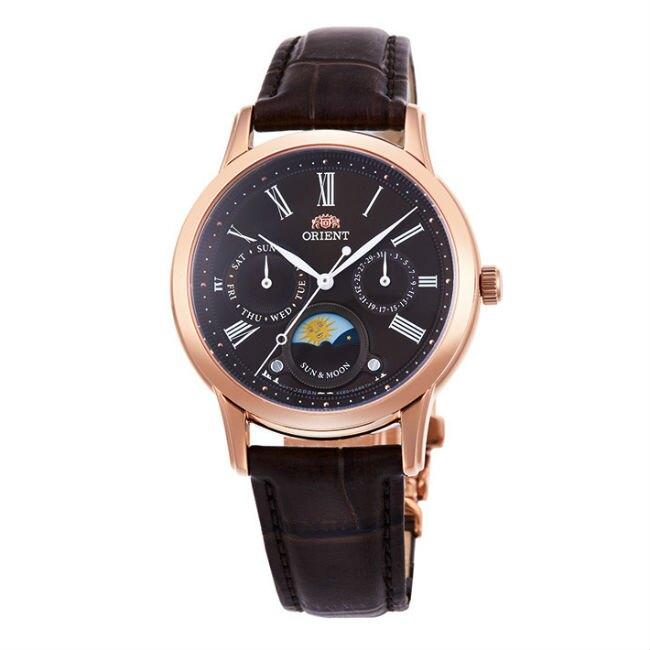 Orient 東方錶 RA-KA0002Y(SUN&MOON系列)新日月相錶時尚腕錶/咖啡面35mm