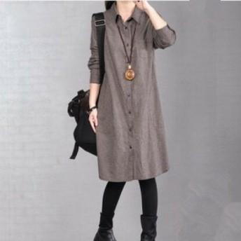 シャツワンピース 可愛い 夏ワンピース 韓国 ファッション レディース ロングスカート 柄 長袖 ミディ丈 膝丈 チェック フロントボタン