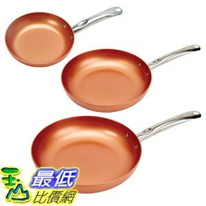 [8美國直購] 不沾鍋 Copper Chef Round Pan 3 Pack 8/10/12吋 B0727R698B