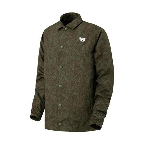 New Balance 男裝 外套 休閒 迷彩 教練夾克 網布內層 透氣 綠【運動世界】AMJ81534DCG