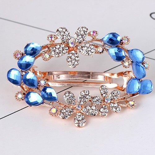 水鑽水晶空心髮夾--水鑽花寶藍色水晶款DB1001-6   日韓/韓版/飾品/髮飾/合金/彈簧夾/頂夾/馬尾夾/頭飾/水鑽/水晶/王子與公主