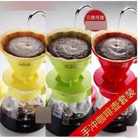 【手沖咖啡壺套裝-V02-650ml-1-4人份-5件/套-1套/組】 濾泡咖啡過濾杯濾紙組合(5件/套:杯、紙、匙、壺、盤)-7501009