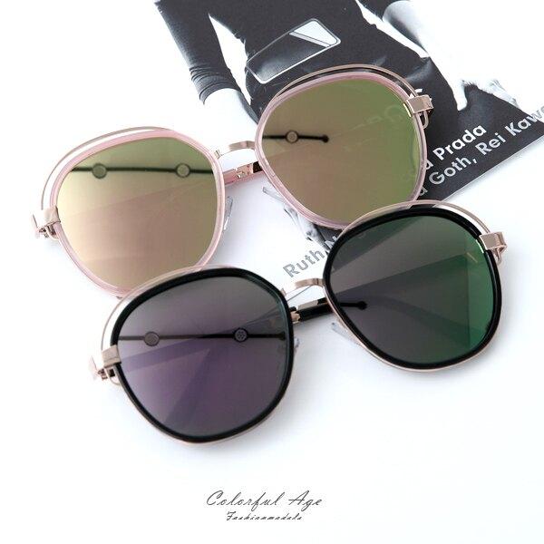 墨鏡 上方鏤空不規則造型膠框太陽眼鏡 柒彩年代【NY423】