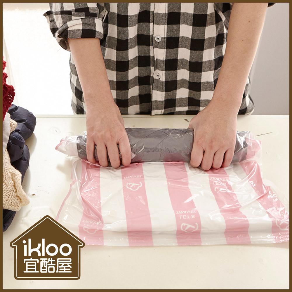 ikloo手捲式真空壓縮收納袋2入組(m)