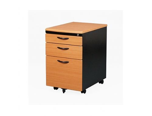 【YUDA】OA 辦公家具 ABS 活動櫃 木紋黑體 附文具盒/活動層板 鎖抽 抽屜櫃/收納櫃
