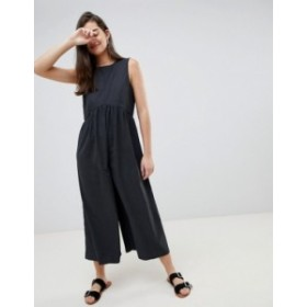 エイソス レディース ワンピース トップス ASOS DESIGN minimal jumpsuit with ruching detail Charcoal