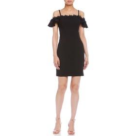 【81%OFF】SCUBA CREPE ストレッチ フラワーモチーフ ドレス ブラック 2