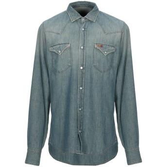 《期間限定セール開催中!》RO ROGER'S メンズ デニムシャツ ブルー L テンセル 40% / 麻 30% / コットン 30%