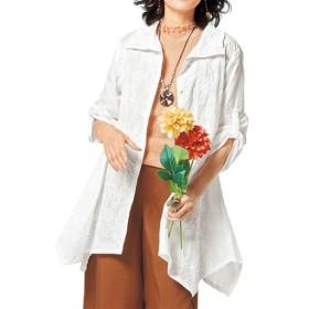 【レディース】 フロント刺繍チュニックシャツ(綿100%) - セシール ■カラー:オフホワイト ■サイズ:M-L