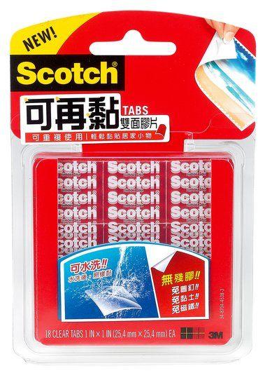 【3M】官方現貨 3M Scotch 可再黏雙面膠片(18片/包)