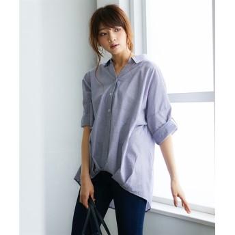 綿100%裾タック7分袖スキッパーシャツ (ブラウス),Blouses, Shirts