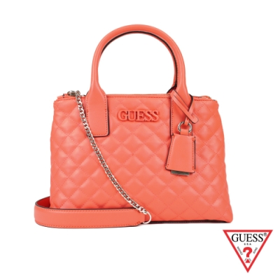 GUESS-女包-菱形壓紋logo手提側背包-橘