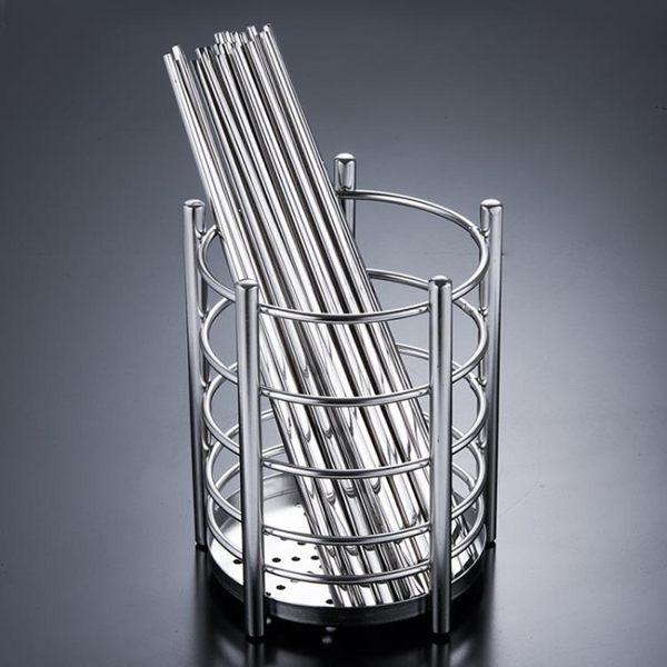 家用廚房304不銹鋼筷子筒加厚筷桶筷籠瀝水筷子盒收納架JD 寶貝計畫