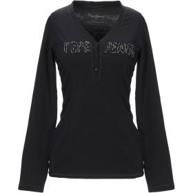《期間限定 セール開催中》PEPE JEANS レディース T シャツ ブラック S コットン 94% / ポリウレタン 6%