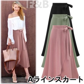 韓国ファッション ラップ風Aラインスカート♪全3色。ウエストリボン付き。春はやっぱりトレンチスカート インスタでも話題 \#トレンチスカート