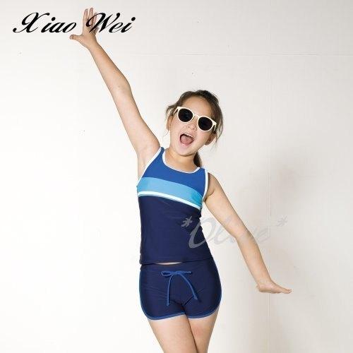 ☆小薇的店☆梅林品牌【藍色拼接白線條】女童二件式泳裝特價590元NO.M8563(14-S)