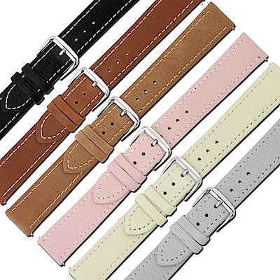 LICORNE力抗 各種品牌通用復刻原廠柔軟真皮錶帶-灰/米白/粉/淺褐/咖啡/黑
