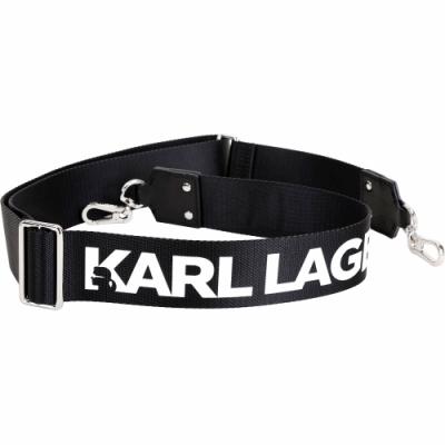 KARL LAGERFELD K/WIDE 品牌字母織布背帶(黑色)