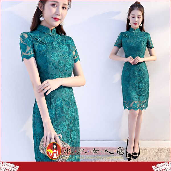 【水水女人國】~清新優雅旗袍風~綠色精靈。復古性感刺繡簍空蕾絲改良式時尚修身顯瘦旗袍洋裝